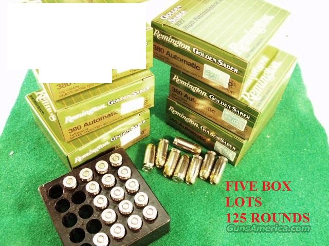 Ammo: .380 Remington JHP 125 round Lot of 5 Boxes Golden Saber 102 grain Bronze Jacketed Hollow Point  5x$19.80 Flying Ashtray Black Talon type Ammunition Cartridges 380 Automatic 9mm Kurz GS380B $19.80 per 25 round Box in 5 box Lots  Non-Guns > Ammunition