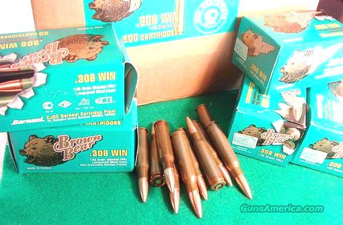 Ammo: .308 145 grain FMJ 200 Round Lot of 10 Boxes Brown Bear Russian 308 Winchester 7.62 NATO Barnaul  Ammunition Cartridges Full Metal Jacket  Non-Guns > Ammunition