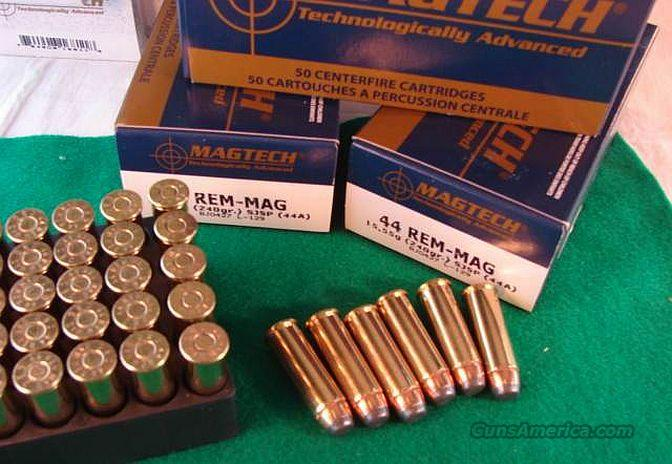Ammo: .44 Magnum 150 Round Lot of 3 Boxes 240 grain JSP Mag Tech Magtech Mag tek teck Mag-tech Jacketed Soft Point 44 Remington Magnum  Non-Guns > Ammunition