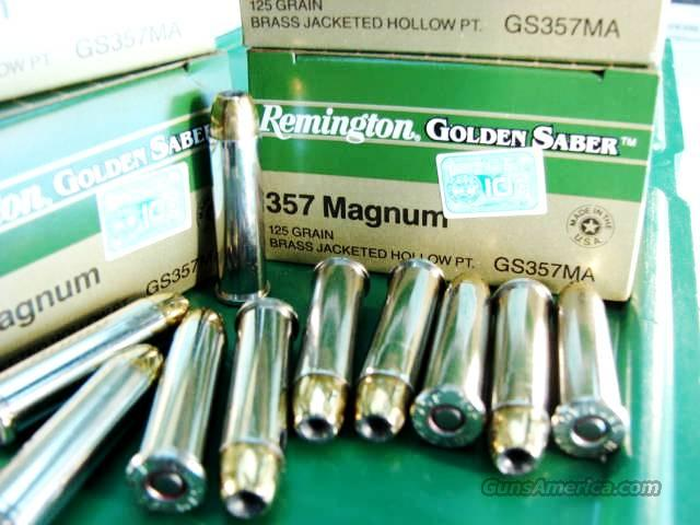Ammo: .357 Magnum 250 round Lot of 10 Boxes Remington Golden Saber 125 grain JHP 357 Bonded Jacketed Hollow Point Flying Ashtray Black Talon type Bullets Ammunition Cartridges  Non-Guns > Ammunition
