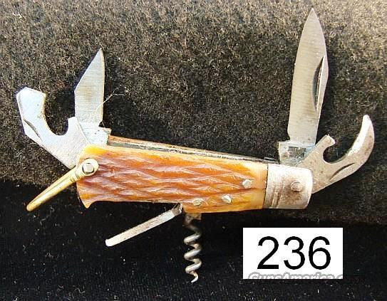 Knife: Japan Mini Scout Knife Sabre type Genuine Bone 1950s  Non-Guns > Knives/Swords > Knives > Folding Blade > Imported