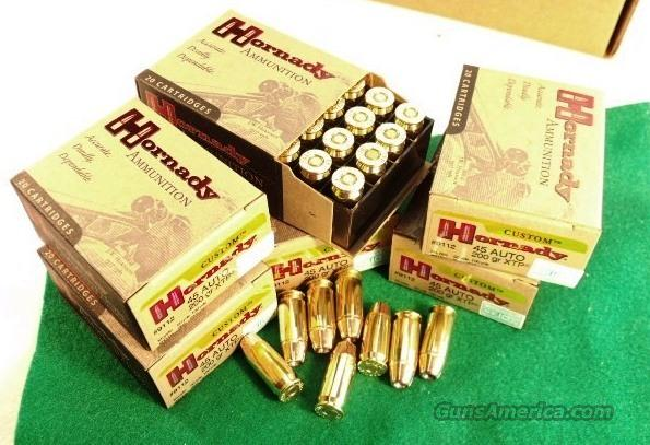 Ammo: .45 ACP 100 Round Lot of 5 Boxes Hornady XTP HP 200 grain Jacketed Hollow Point 45 Automatic Ammunition Cartridges 9112  Non-Guns > Ammunition