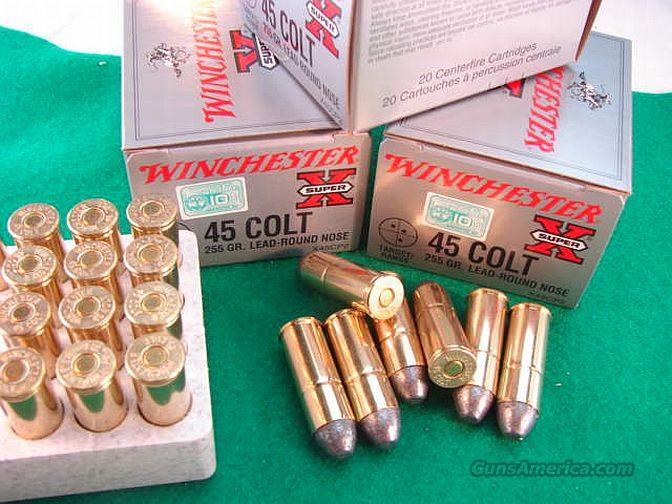 Ammo: .45 Long Colt Winchester 255 Lead Round Nose 20 round Box Case Lots Available   Non-Guns > Ammunition