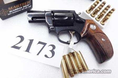 Taurus .357 Magnum Model 605 Blue Steel 2 inch with 1970s Walnut Combat Grips Smith & Wesson Model 36 Chief's Special copy Snub Nose 38 Spl 357 Mag 2 inch Excellent in Box Factory Demo 2605021 CA OK  Guns > Pistols > Taurus Pistols/Revolvers > Revolvers