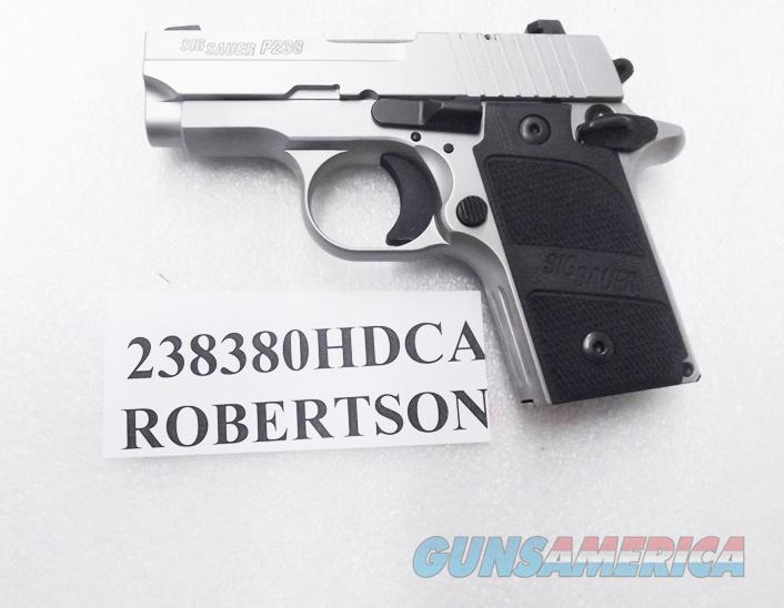 Sig .380 ACP P238 Stainless Steel Siglite Night Sights CA OK Loaded Chamber Indicator 7 Shot 1 Magazine 380 Automatic Colt Mustang type Heavy Duty Sig Sauer Arms 238380HDCA  Guns > Pistols > Sig - Sauer/Sigarms Pistols > P238