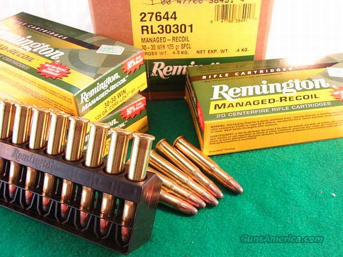Ammo: .30-30 Managed Recoil 200 Round Case of 10 Boxes Remington 125 grain Soft Point Core Lokt Locked 3030 Winchester Reduced Ammunition Cartridges  Non-Guns > Ammunition