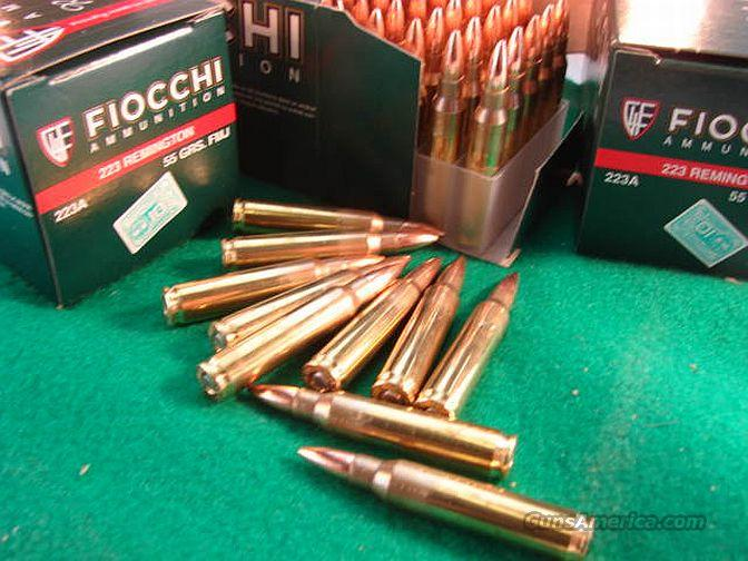 Ammo: .223 FMC 20 Round Box Equivalent price on 50 round Boxes Brass Case Fiocchi 55 grain Full Metal Case Jacket Hornady Bullets Ammunition Cartridges 5.56 NATO 223 Remington caliber $7.00 per 20 Equivalent  Non-Guns > Ammunition
