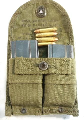 Ammo: .30 M-1 Carbine Korea w/2 Magazines &  Case Double OD Green 1956 Exc  Non-Guns > Military