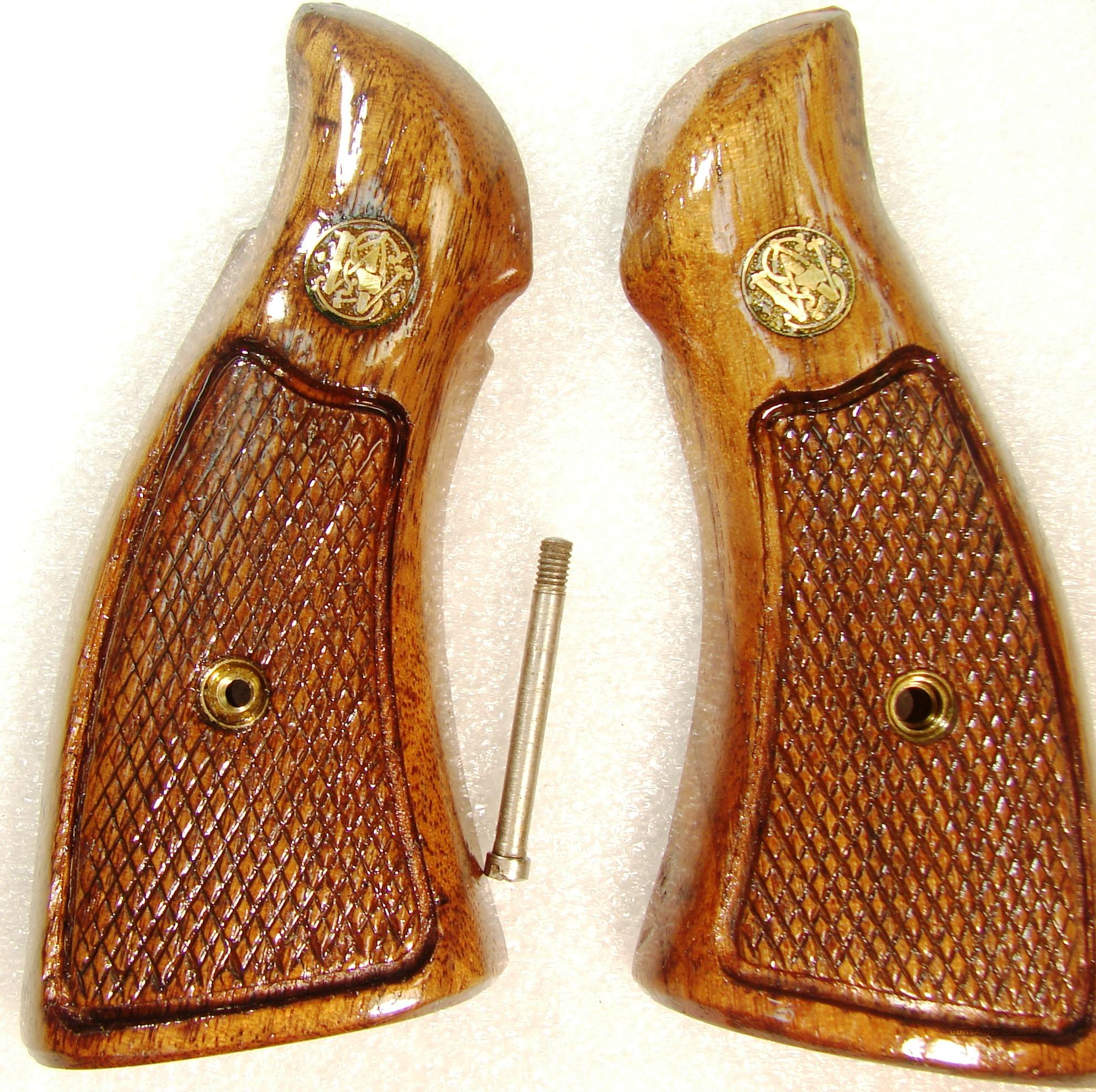 Grips S&W K L Square Butt Service Magna style Late 1980s Goncalo Alves Excellent Refinish Smith & Wesson  Non-Guns > Gunstocks, Grips & Wood