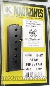 Star M43 Firestar Compact 9mm Pistol Magazine 7 Shot Blue Steel New Triple K manufacture Model 43 only NOT for Firestar Plus XM1343M   Non-Guns > Magazines & Clips > Pistol Magazines > Other