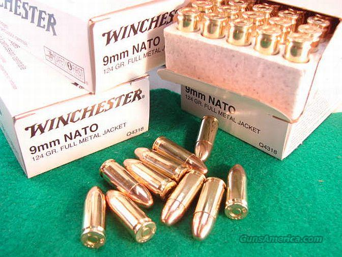 Ammo: 9mm NATO Winchester 124 FMC 10 Box Case Case of 500 Rounds Full Metal Case Ammunition Cartridges  Non-Guns > Ammunition