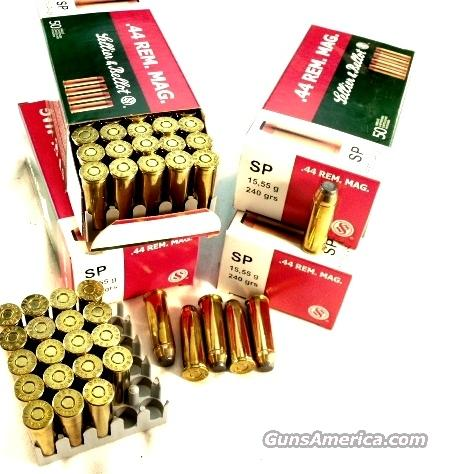 Ammo: .44 Magnum S&B Czech 240 gr JHP 50 round Box Case Lots Available 44 Remington Magnum Jacketed Soft Point  Non-Guns > Ammunition
