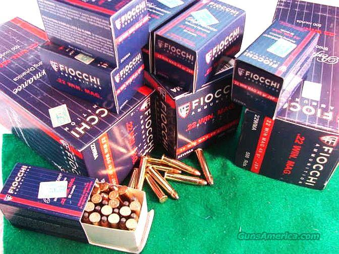 Ammo: .22 Magnum 40 grain 2500 Round Lot of 5 Bricks / Cartons = 50 Boxes Fiocchi with Hornady JSP Soft Point Bullets 22 Winchester Magnum Ammunition Cartridges  Non-Guns > Ammunition