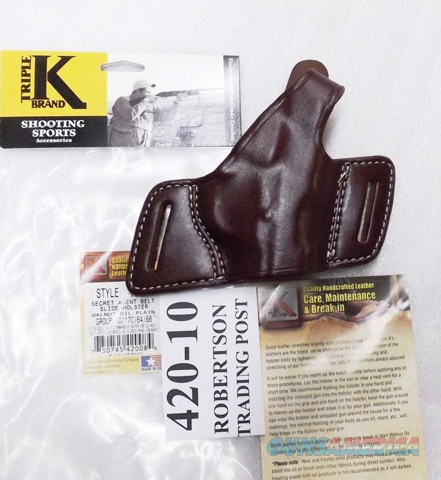 Triple K Leather Holster Secret Agent 420-10 Colt 1911 Government Hi Power Star B Taurus PT92 99 58 Kahr Hammer Down Carry Thumb Break Right Hand Brown Walnut Oil CZ75 Hammer Back 3 ship Free!  Non-Guns > Holsters and Gunleather > Large Frame Auto