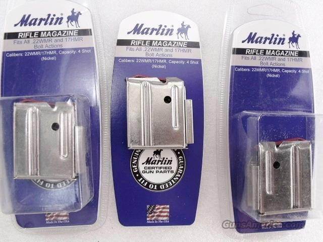 Lots of 3 or more Magazine Marlin .22 Magnum or .17 HMR 4 Shot Nickel Steel Fit all models including 25M 725M 782 882 982 917 925 925M New In Box $16 per on 3 or more   Non-Guns > Magazines & Clips > Rifle Magazines > Other