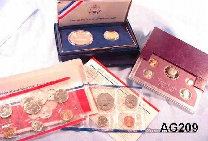 Silver & Gold 1987 US Sets: Proof, Mint, and Constitution 17 Coins  Non-Guns > Coins