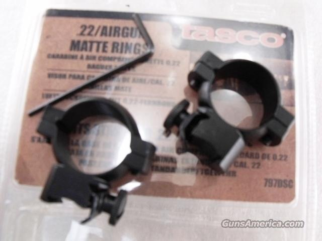 Scope Rings Tasco .22 Grooved Receiver 1 inch Black Matte New our SM797DSC  Non-Guns > Scopes/Mounts/Rings & Optics > Mounts > Traditional Weaver Style