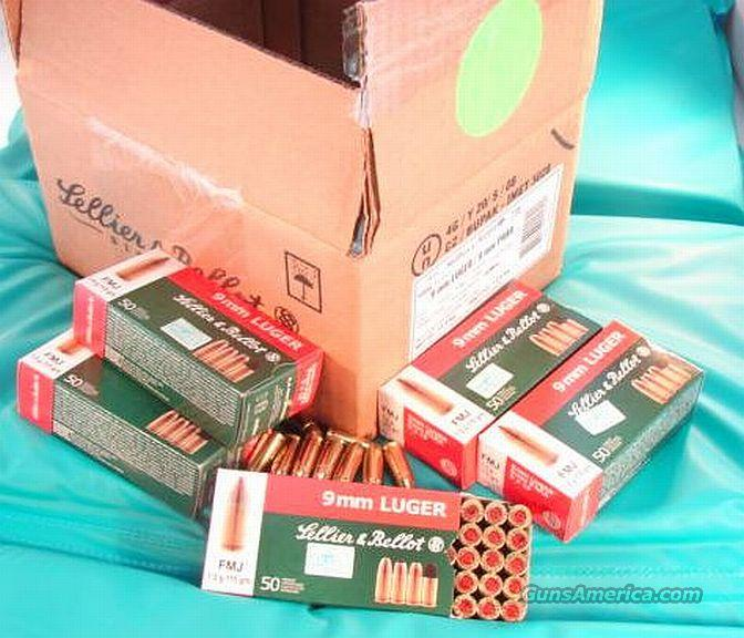 Ammo: 9mm S&B Czech 50 Round Boxes 115 grain FMC Full Metal Case Jacket 9x19 Luger Parabellum Ammunition Cartridges  Non-Guns > Ammunition