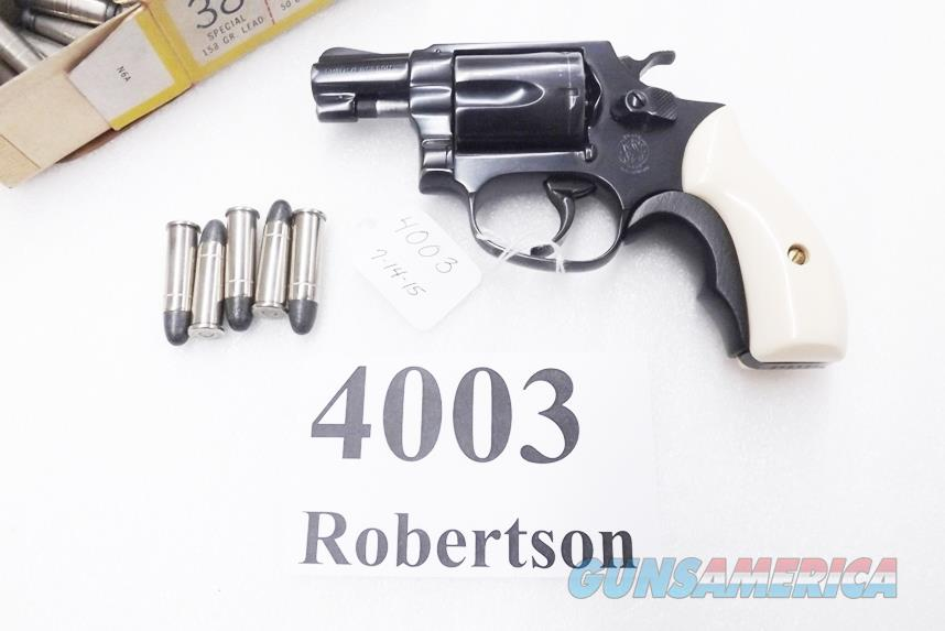 S&W .38 Special model 36 Chief's Special Airweight Blue 2 inch Snub 1961 Production 38 Spl Smith & Wesson 101602  Ajax Ivory Grips with Black Tyler T Refinish   Guns > Pistols > Smith & Wesson Revolvers > Pocket Pistols