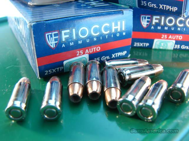 Ammo: .25 ACP Fiocchi Extrema Hornady 35 gr XTP HP Bullets 300 round Lot of 6 Boxes  Non-Guns > Ammunition