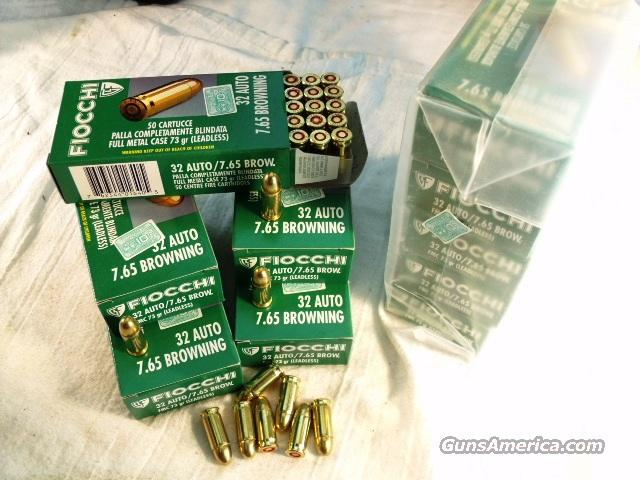 Ammo: .32 ACP 50 Round Boxes Fiocchi 73 grain FMC Range Safe 32 Automatic 7.65 765 Browning Full Metal Jacket Ammunition Cartridges  Non-Guns > Ammunition
