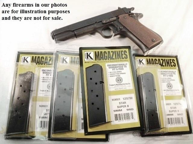 Lots of 3 Star Model Super B 9 Shot Magazine Triple K fits Non-Slotted Variants of the Star Model B Will Not fit BS or Bs with Slotted Grip Frame Butt New Blue Steel  Non-Guns > Magazines & Clips > Pistol Magazines > Other