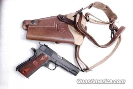 GI style Shoulder Holster 45 Autos 1911 Pistols New India Brown Leather WWI WWII type GL0108 Colt Government Model 45 Automatic Long Chest Strap variant  Non-Guns > Holsters and Gunleather > Large Frame Auto
