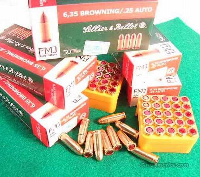 Ammo: .25 ACP S&B Czech 250 Round Lot of 5 Boxes 25 Automatic 6.35 Browning Sellier & Bellot Ammunition Cartridges 50 grain Full Metal Case Jacket  Non-Guns > Ammunition