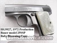 Bauer 25SSP .25 ACP 1972 First Year of Production 25 Automatic Baby Browning Copy VG Imitation Pearl Grips  Guns > Pistols > Bauer Pistols