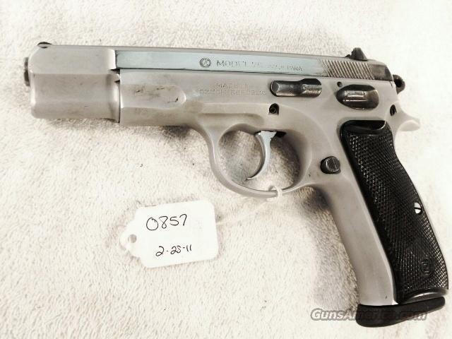 CZ-75 9mm Czech Police Satin Nickel 1993 SP01 type w/ 1 High Capacity 15 Shot Magazine CZ75 CZ model 75 Ceska Zbrojovka Double Action Automatic. Not C & R Eligible  Guns > Pistols > CZ (Ceska ZBrojovka) Pistols