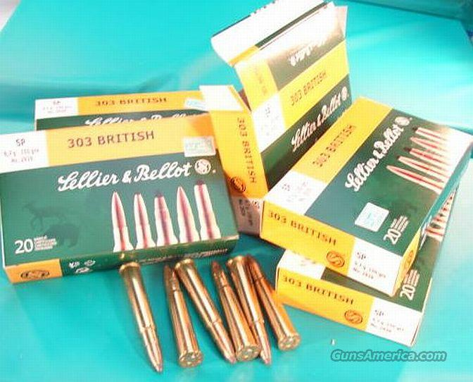 Ammo: .303 British 150 grain Soft Point 100 Round Lot of 5 Boxes S&B Czech 303 British Lee Enfield Ammunition Cartridges  Non-Guns > Ammunition