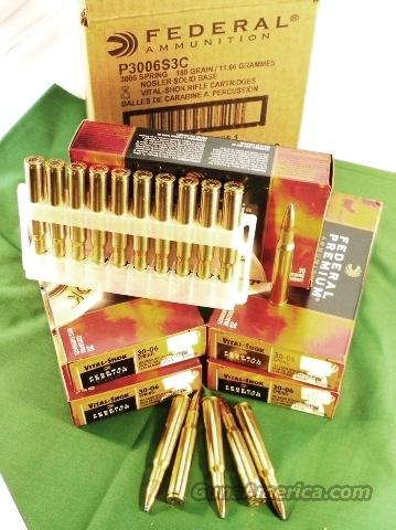 Ammo: .30-06 Federal Premium Vital Shok 20 round Boxes 180 grain Nosler Soft Point 3006 Springfield SP 200 Round Case of 10 Boxes Ammunition Cartridges  Non-Guns > Ammunition