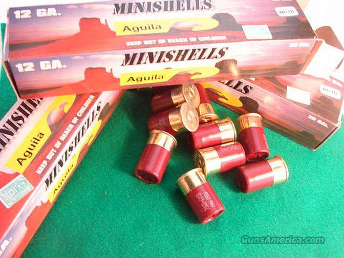 Ammo: 12 gauge Mini Buckshot 1 3/8 inch 100 Round Lot of 5 Boxes Aguila 11 Pellets Dual Load #4 and #1 Buck 1887 Shotshell Shotgun Shell Ammunition  Non-Guns > Ammunition