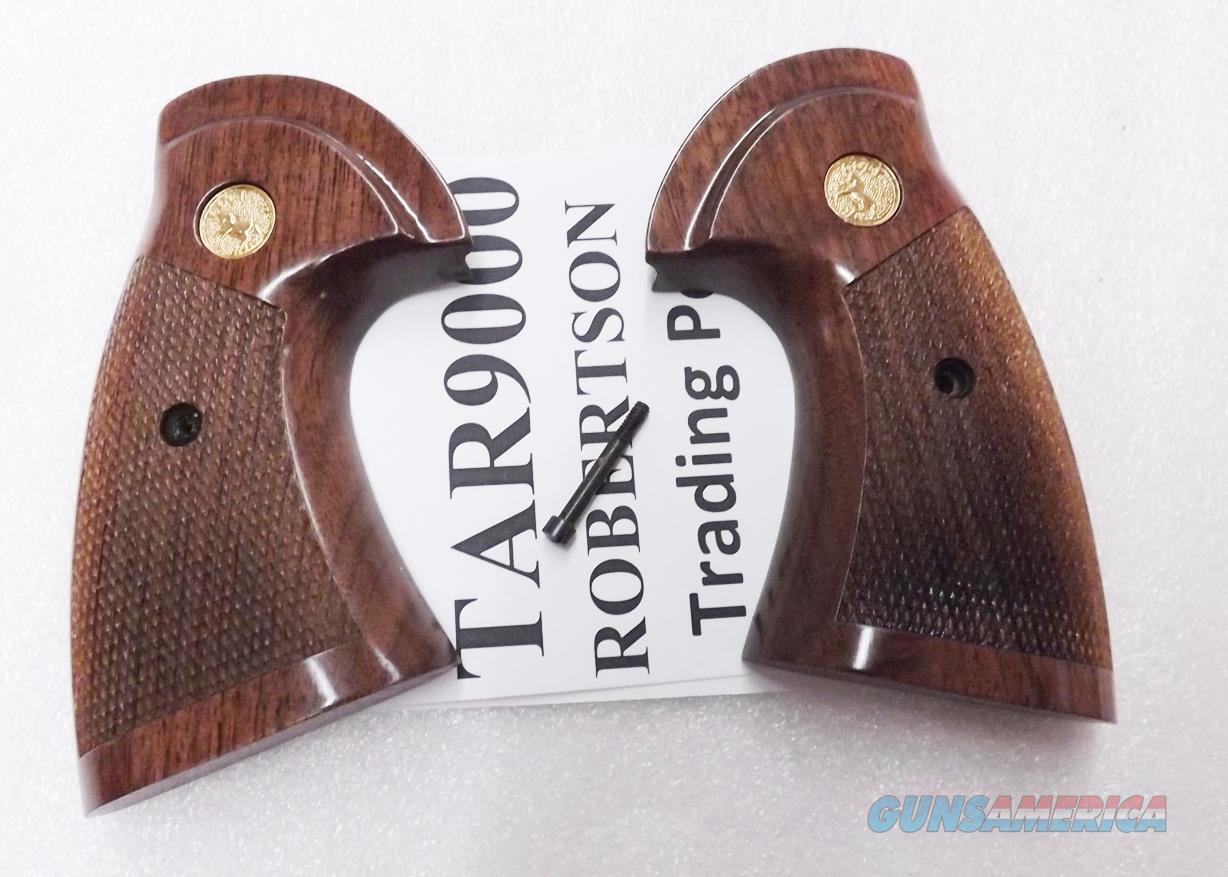 Walnut Reproduction Target Stocks Grips for Colt I Frame OP Old Model Trooper Officers Model Match Gloss Finish with Gold toned Medallions Free Ship L48   Non-Guns > Gunstocks, Grips & Wood