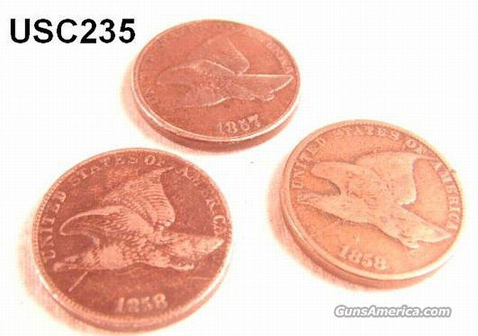 US Coins Flying Eagle Cents 3 Total 1857, 1858 LL & 1858 SL  VG Cond  Non-Guns > Coins