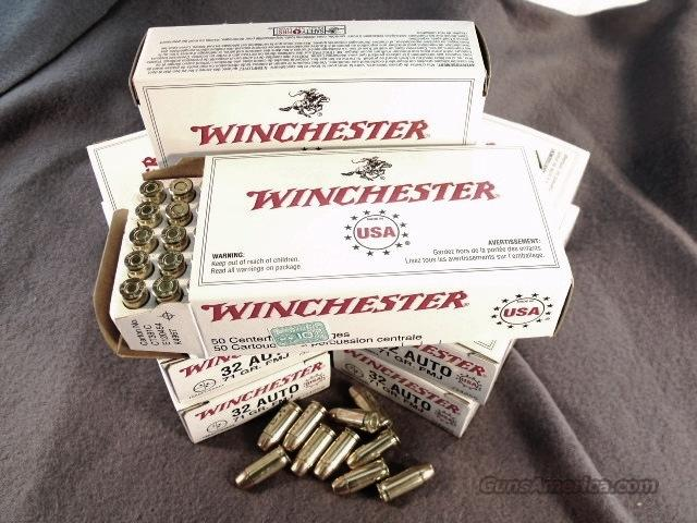 Ammo: .32 ACP Winchester 500 Round Factory Case of 10 Boxes 71 grain FMC Full Metal Case Jacket 32 Automatic Ammunition Cartridges  Non-Guns > Ammunition