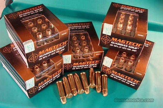 Ammo .38 Special +P Mag-Tech 120 Round Lot of 6 Boxes 125 grain JHP Guardian Gold  Jacketed Hollow Point Flying Ashtray Black Talon type  Non-Guns > Ammunition