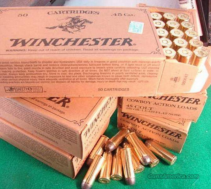 Ammo: .45 Colt Winchester 50 Round Boxes USA 250 grain Lead Flat Nose Cowboy Load 45 Long Colt Ammunition Catridges  Non-Guns > Ammunition