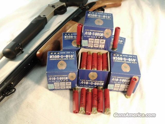 Ammo: .410 gauge .400 Buckhot 25 Round Boxes 2 1/2 inch 3 Pellet 1200 fps Nobel Law Enforcement 410 ga OOO Buck 000 Ammunition Shotgun Shells Shotshells Cartridges.  Non-Guns > Ammunition