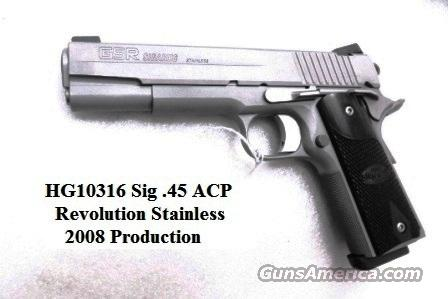 Sig .45 ACP Revolution XO GSR Variant Stainless 1911 Government Size Excellent in Box 3 Dot 2 Mags Laminate Grips CA OK  Guns > Pistols > Sig - Sauer/Sigarms Pistols > 1911