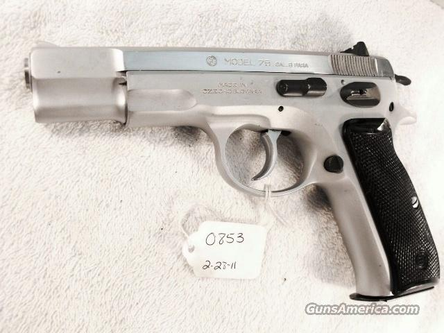 CZ-75 9mm Czech Police Satin Nickel 1989 Excellent w/ 1 High Capacity 15 Shot Magazine CZ75 CZ model 75 Ceska Zbrojovka Double Action Automatic. Not C & R Eligible  Guns > Pistols > CZ (Ceska ZBrojovka) Pistols