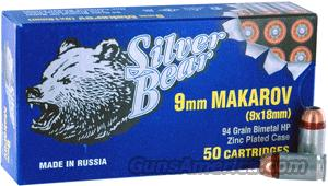 Ammo: 9 x 18 Makarov 94 gr HP 50 Bx Steel Case Russian  Non-Guns > Ammunition