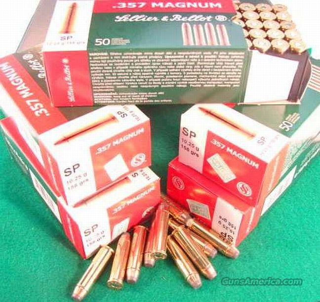 Ammo: .357 Magnum S&B 500 Round 1/2 Case Lot of 10 Boxes 158 grain JSP Czech Sellier & Bellot Magtech Jacketed Soft Point 357 Mag Ammunition Cartridges 1260 fps 560 ft/lbs  Non-Guns > Ammunition