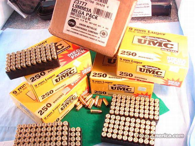 Ammo: 9mm Rem UMC 115 FMC Case of 1000 Rounds  Non-Guns > Ammunition