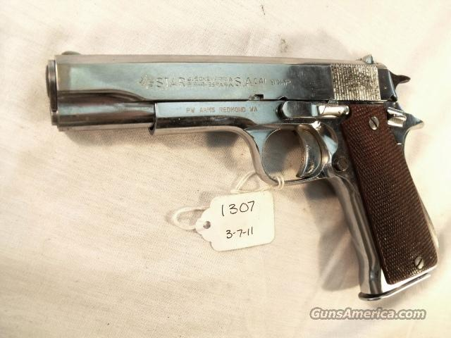 Star Spain 9mm Model BS Nickel Colt Government Size Steel Frame ca 1967 Israeli Army Police 1 Magazine  Guns > Pistols > Star Pistols