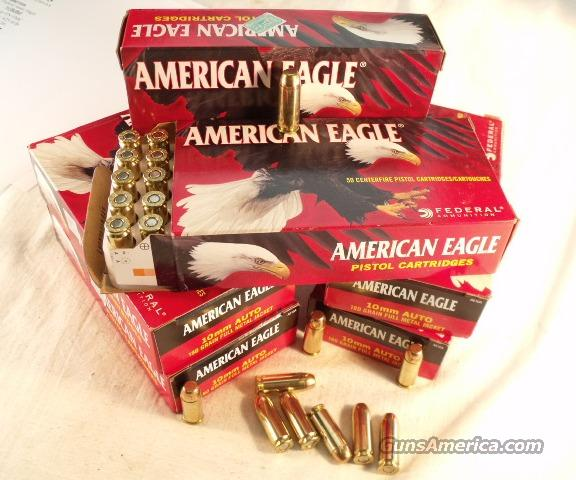 Ammo: 10mm Federal 150 Round Lot of 3 Boxes American Eagle 180 grain FMC 10 mm Ammunition Cartridges Full Metal Case Jacket AE10A  Non-Guns > Ammunition