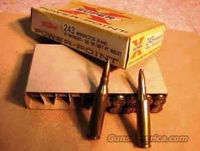 Winchester-Western Power Point .243 1960s VG 11 Rds & Box  Non-Guns > Collectible Cartridges