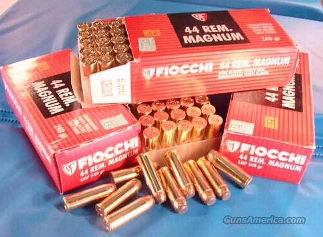 Ammo: .44 Magnum Fiocchi 240 grain JSP 50 Round Boxes 44 Remington Magnum Hornady Jacketed Soft Point Bullets Ammunition Cartridges  Non-Guns > Ammunition
