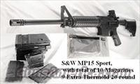 S&W .223 M&P 15 Sport NIB with 10 Magazines Smith & Wesson MP15 AR15 type with 30 shot and 9 extra 20 Shot Thermold Magazines.   Guns > Rifles > Smith & Wesson Rifles > M&P
