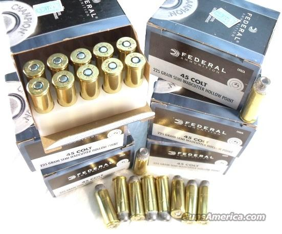 Ammo:.45 Colt Federal 100 Round Lot of 5 Boxes 225 grain SWC HP 45 Long Colt Ammunition Cartridges  Non-Guns > Ammunition